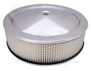 """14"""" x 4"""" Chrome Air Cleaner / Filter With Recessed Base - Holley, Edelbrock"""