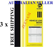 3x Olympic Pocket Vehicle Log Book 180 x 110mm 64 Page Car truck ATO requirement