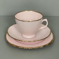 Vintage Royal Vale China Pale Pink Powdered Gilding Tea Set Trio Afternoon Tea
