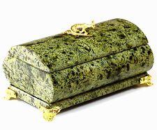 "Green Russian Serpentine Stone Jewelry Casket Handmade Trinket Storage Box 4.7"""
