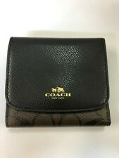 Coach Signature PVC Brown/Black Leather Small Trifold Wallet F53837 New $135+Box