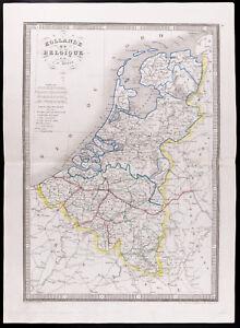 1841 - Mapa Antigua Holanda Bélgica / monin / Propiedad Kaart Van Holanda