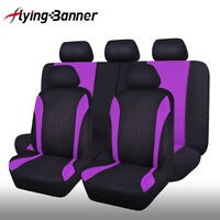 11 PCS Universal Seat Covers Purple for Car Truck SUV Van - Polyester Protectors