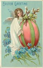 Easter~Lil Angel~Large Pink Egg~Pussy Willow Lime Bow~Blue Flowers~Emb~B W 348