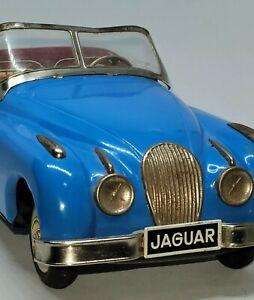 "Vintage Bandai 9 1/2"" Tin Friction Jaguar Roadster c.1955"
