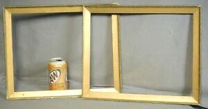Antique Arts Crafts Gilt Wood Gesso Picture Frame PAIR 11x14 Flat Profile 1910