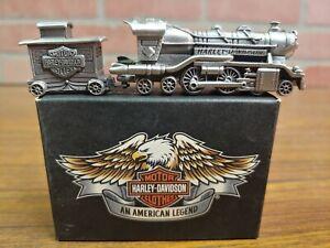 2001 HARLEY DAVIDSON COL. PEWTER TRAIN STARTER SET, MINI WITH ENGINE & CABOOSE