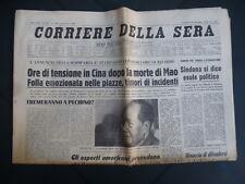Corriere della Sera 10/9/1976 Ore di tensione dopo la Morte di Mao Tse-Tung Cina