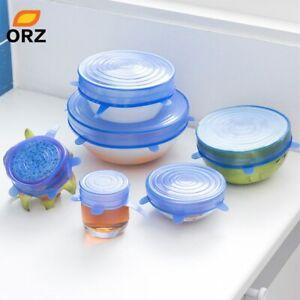 12 PCS Reusable Silicone Lids Stretch Bowl Cover Food Storage Wraps Seals FDA