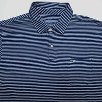 Vineyard Vines Blue White Striped Short Sleeve Casual Polo Shirt Mens Size Large