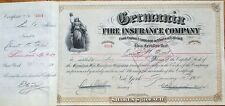 'Germania Fire Insurance Company' 1914 Stock Certificate - New York