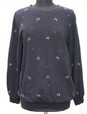 Quacker Factory Sweatshirt Sz M Black Cat Rhinestones Feline Womens Halloween