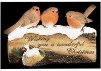 3 Robins On A Christmas Log Xmas Decoration Christmas Display