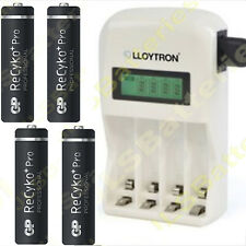 1 Hour LCD  BATTERY CHARGER + 4 GP AA 2000mAh Rechargeable Batteries Ni-Mh