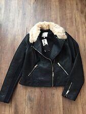 ZARA Women's Fur Collar Jacket (Black,  US L/EUR L)