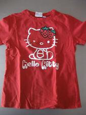 Hello Kitty Shirt T-Shirt Gr.122/128, 7 Jahre, Baumwolle Kurzarm Rot/Weiß schön