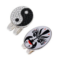 2 Pieces Peking Opera Mask Yin Yang Magnetic Hat Cap Clip Golf Ball Markers