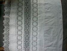Antique Circular Petticoat Flounce; Bobbin Lace White work 19th century