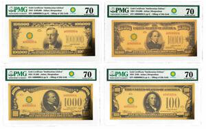 4-Pc Set (2018) $100-$100K 24K Gold Certificate Smithsonian 1934 PMG 70 SKU60439