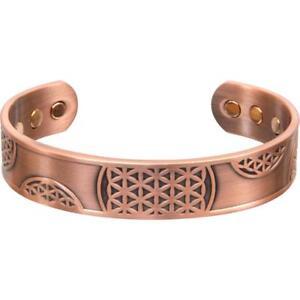Adjustable Magnetic Antiqued FLOWER OF LIFE Copper Bracelet!