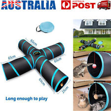 NEW Pet Cat Tunnel 4 Way Kitten Training Toy Rabbit Play Tube With Crinkle Toys