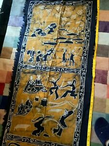 Genuine Handmade Chinese Dyed Batik Cloth Wall Hanging Art South West China rare