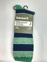 Timberland 1Pair Green/Blue/Gray Striped Premium Wool Men's Crew Socks A178X-552