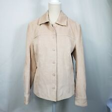 Cherokee Womens Suede Leather Jacket Size Small Pale Pink Lined Washable