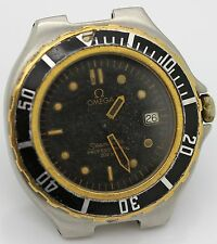 MENS OMEGA SEAMASTER PRE-BOND QUARTZ TWO TONE SS/18K WATCH HEAD PARTS/REPAIRS
