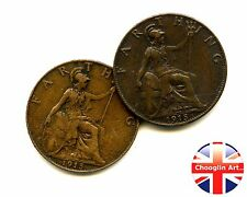 A pair of 1915 British Bronze GEORGE V FARTHING Coins
