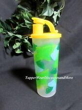 TUPPERWARE NEW Lemon Aide Design 16 oz TUMBLER Cup W Yellow FLIP Top Seal