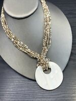 Mother Of Pearl Pendant Pearl gold glass seed bead multi Chain Necklace 16-18""