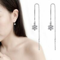 925 Silver Snowflake Long Threader Earrings Stud Dangle Drop Lady Christmas Gift