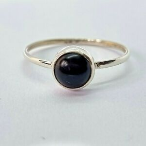 Brand New Sterling Silver 925 Onyx (Round) Ring, Size S