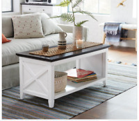 Rustic Wood Coffee Table White Storage Living Rm Farmhouse Distressed Cottage