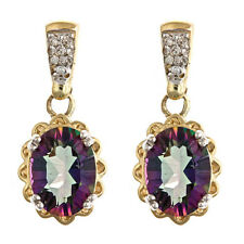 Mystic Topaz Earring 8x6mm  14kt Yellow Gold