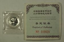 2002 Proof China 100 Yuan 1/10th Ounce Platinum Panda 20th Anniv. Coin with COA