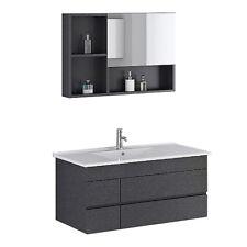 Set de baño muebles lavado pila Appenzell negro fregadero incl. espejo Mueble