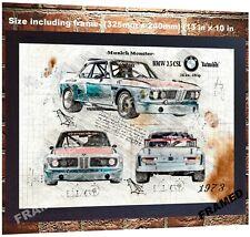 BMW 3 5 CLS da Vinci Sketch Art print poster logo sport car m3 e90 e95 m5 FRAMED
