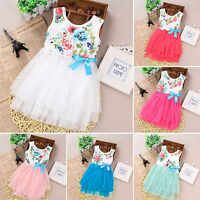Kids Girls Infant Princess Sleeveless Bow Flower Lace Tutu Mini Dress Sundress