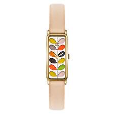 Orla Kiely Women's Rectangular Stem Leather Strap Watch, Nude/Multi