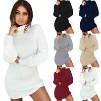 Damen Rollkragen Bodycon Pullover Jumper Pullikleid Strickkleid Winter Minikleid