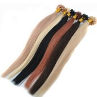 "100S 20"" Straight Pre Bonded U Nail Tip Keratin Fusion Remy Human Hair Extension"
