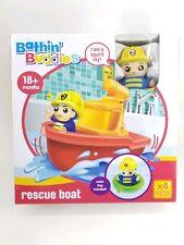 New Rescue Boat Hero Bathing Buddies Bath Tub Toy Fun 4pc Set Kids Children Play