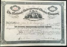 NATIONAL UNDERGROUND ELECTRIC CO Stock 1886. NJ. Electric-Telephone-Telegraph EF