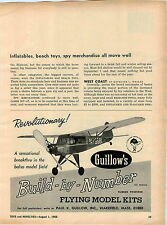 1966 ADVERT Guillow's Build By Number Flying Model Kit Piper Cub Balsa Rubber PW