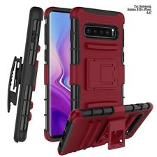 For Samsung Galaxy S10+ Plus Case W/ Built-in Kickstand Rotatable Holster Belt