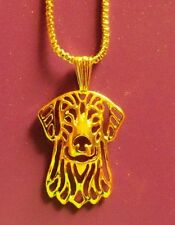 Labrador Retriever Golden Dog Necklace Pendant ~ Gold Tone