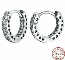 Real 925 Silver Sterling sparkling small HOOP EARRINGS CZ Studs+gift pouch
