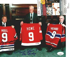 Autographed GORDIE HOWE & Bobby Hull with Maurice Richard 8 x 10 JSA